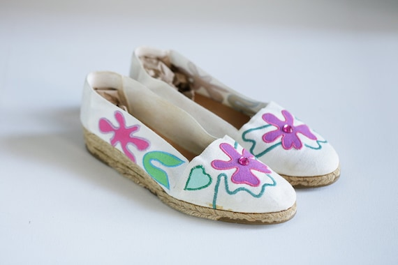 80s Pink Green Floral Canvas  Embroidered Espadril