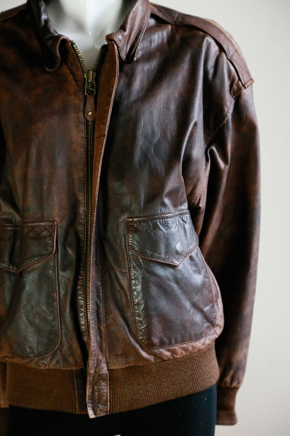 Leather Aviator Flight Jacket | Vintage Pilot Jac… - image 4
