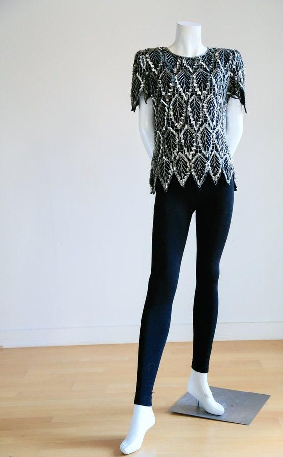 Sequin Beaded Black Silver Short Sleeve Top   Sequ