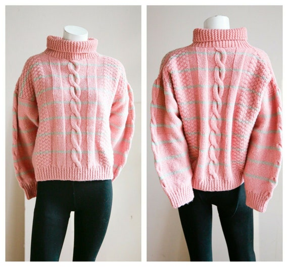 Vintage Dusty Pink Chunky Cable Detail Striped Woo