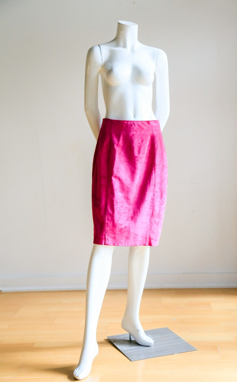 f134b64d6b 80s Suede Hot Pink pencil Skirt Slim Fit Skirt High Waist | Etsy