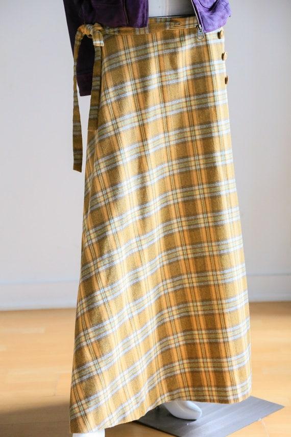 Plaid Wool A-line Maxi Wrap Skir   Plaid Boho Max… - image 3