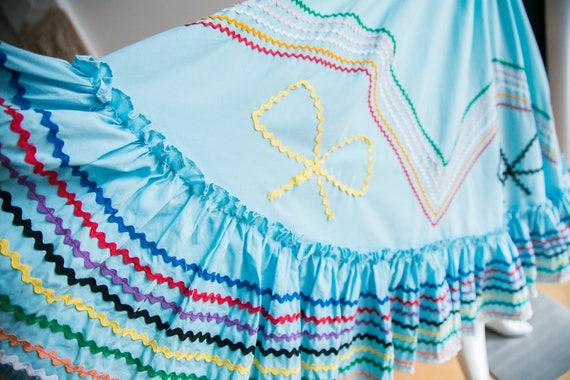 Mexican Circle Skirt | Folk Dancing Skirt  | Blue… - image 9