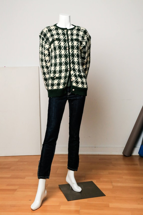 Large Print Houndstooth Mohair Sweater |Vintage Ho
