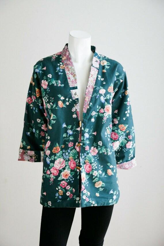 Vintage Cottagecore Patchwork Pink Teal Floral Re… - image 10