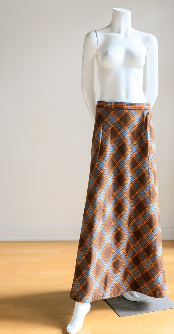 Plaid Wool A-line Maxi Skirt   Gold Plaid Skirt  … - image 4