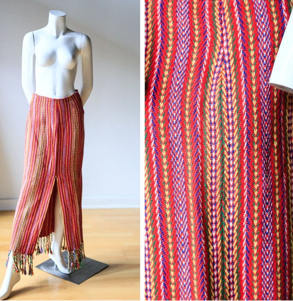 Long Multicolour Slim Fit Maxi Skirt with Fringe |