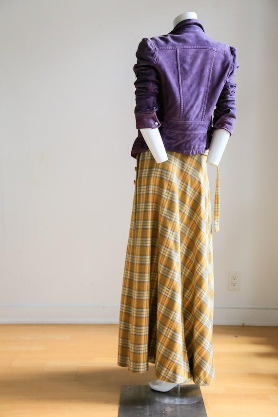 Plaid Wool A-line Maxi Wrap Skir   Plaid Boho Max… - image 8