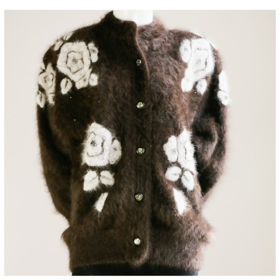Vintage Angora w White Floral Detail Cardigan   De