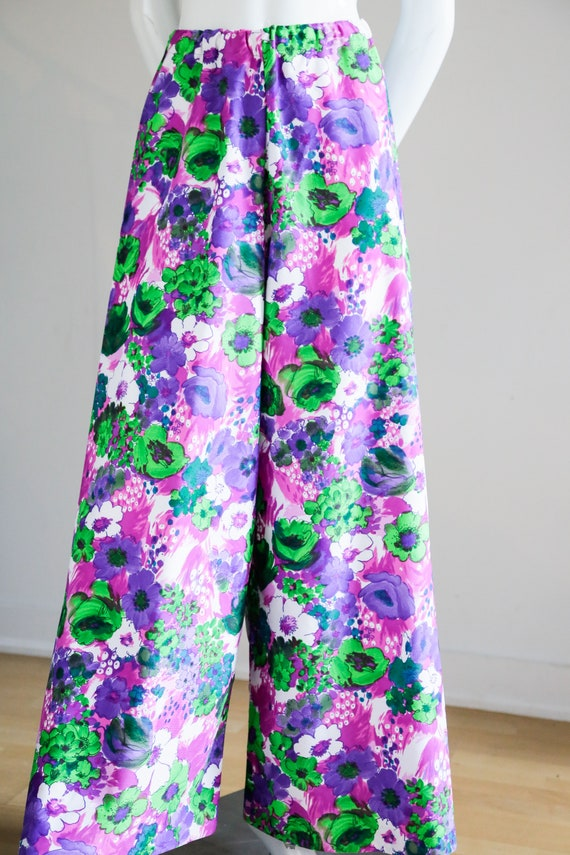 70s Wild Flower Power Purple and Bright Green Wid… - image 5