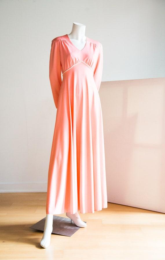 Long Sleeve Pink Modest Dress | Empire Waist Dress