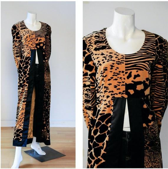 70s Velvet Animal Print  Long Tunic | Long Velvet