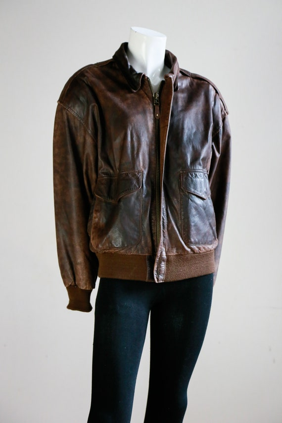 Leather Aviator Flight Jacket | Vintage Pilot Jac… - image 2