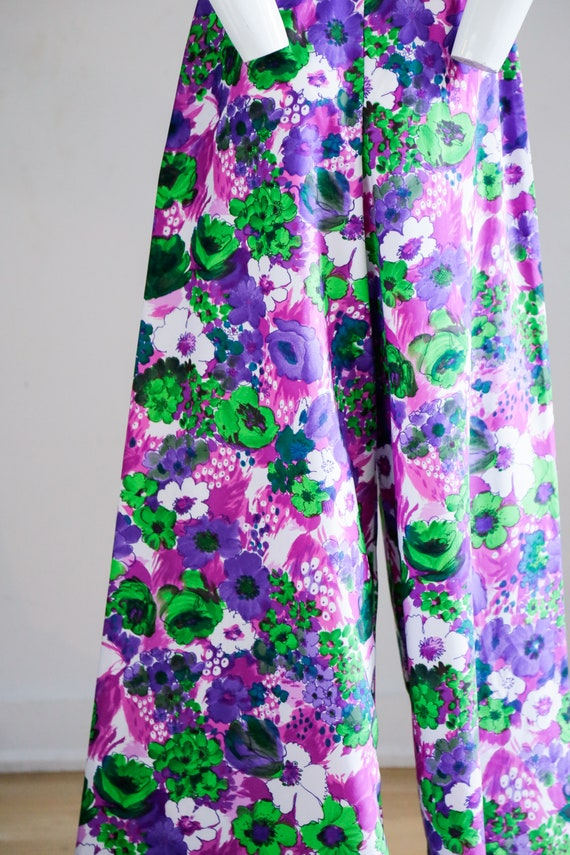 70s Wild Flower Power Purple and Bright Green Wid… - image 9