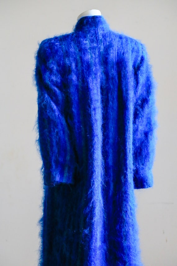 Blue Mohair Midi Coat | Wool Mohair Striped Coat … - image 6