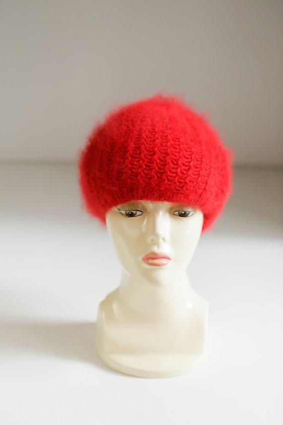 Bright Red Wool Angora Winter Beret | Holiday Fes… - image 8