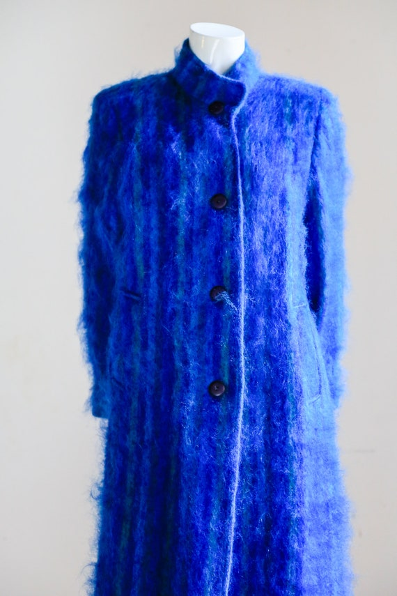 Blue Mohair Midi Coat | Wool Mohair Striped Coat … - image 4