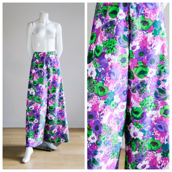 70s Wild Flower Power Purple and Bright Green Wid… - image 1