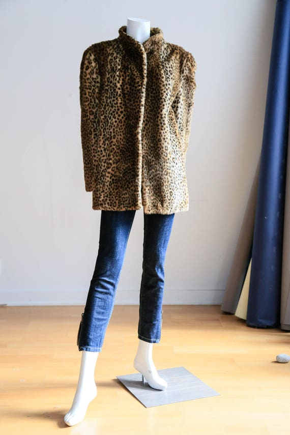 Short Leopard Print Faux Fur Jacket | Short Animal