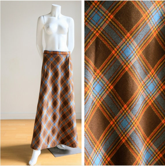 Plaid Wool A-line Maxi Skirt | Gold Plaid Skirt |