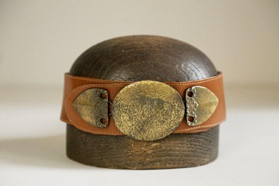 80s Wide Leather Belt with Massive Primitive Gold… - image 2