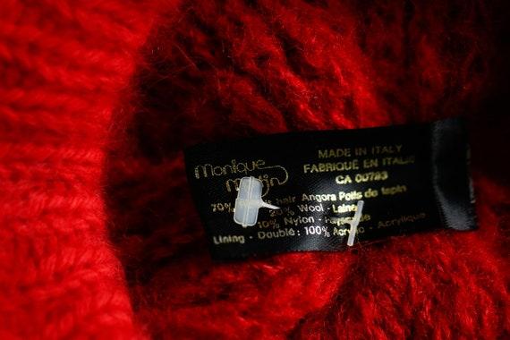 Bright Red Wool Angora Winter Beret | Holiday Fes… - image 9