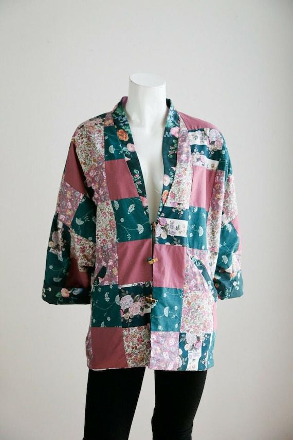 Vintage Cottagecore Patchwork Pink Teal Floral Re… - image 2