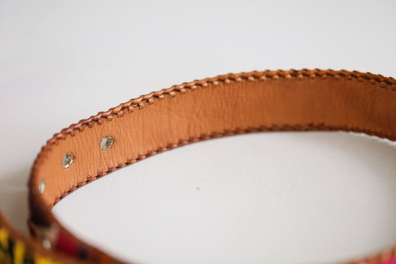 Handmade  Colourful Embroidered Boho Leather Belt… - image 5