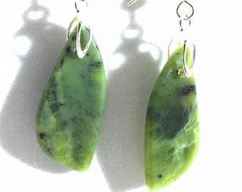 All Natural Chrysoprase Drop and Dangle Earrings - Free Form - Sterling Silver French Hook Ear Wires      E027