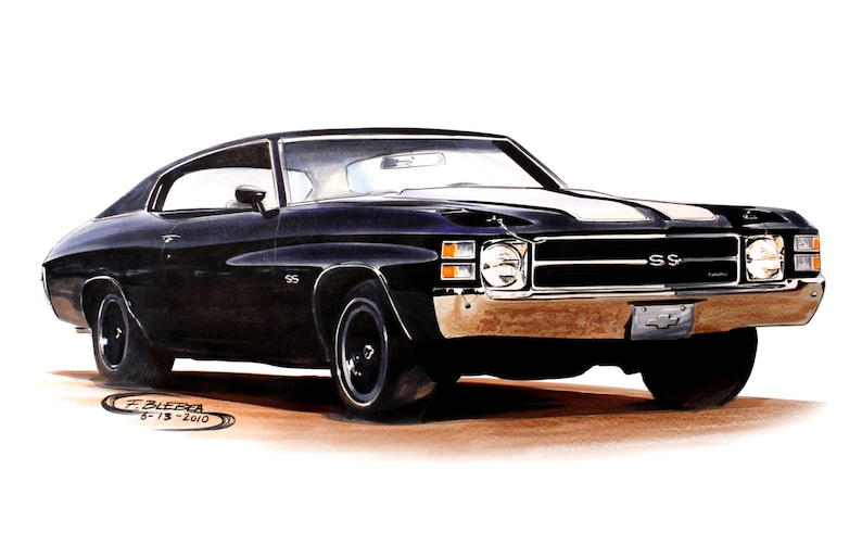 chevrolet chevelle ss muscle car drawing | etsy