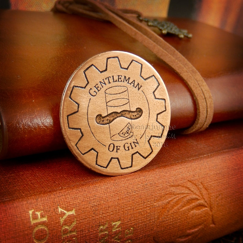 Etched copper brooch or achievement badge in the Steampunk image 0