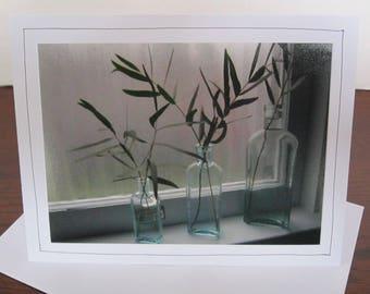 Photo Greeting Card | Handmade Card | Photo Note Card | Original Photography | Glass Bottles on Windowsill