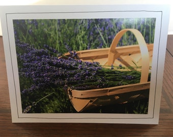 Photo Greeting Card | Handmade Card | Photo Note Card | Original Photography | Lavender in Basket