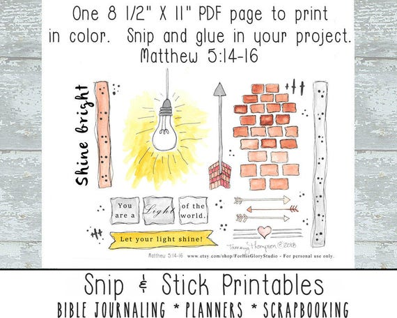 Bible Journaling Printables Snip & Stick #1 - Matthew 5:14-16 Bible  Journaling, Planners, Scrapbooking - watercolor, hand drawn elements