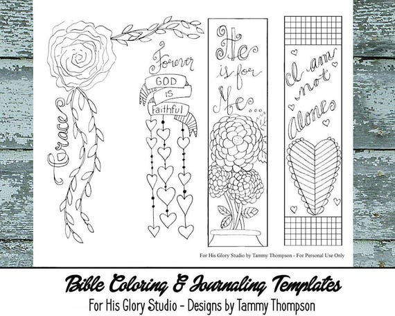 Grace 25 Bible Journaling Template Black And White Etsy
