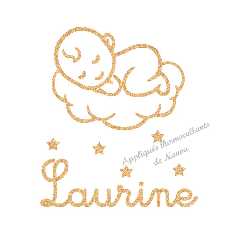 Baby pattern cloud name personalized applied thermosticking patch iron glitter