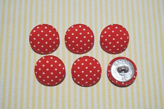 6 Country Yellow Flower Fabric Covered Buttons 20mm