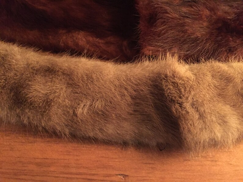 Two fur collars brown and white gift idea wedding birthday christmas