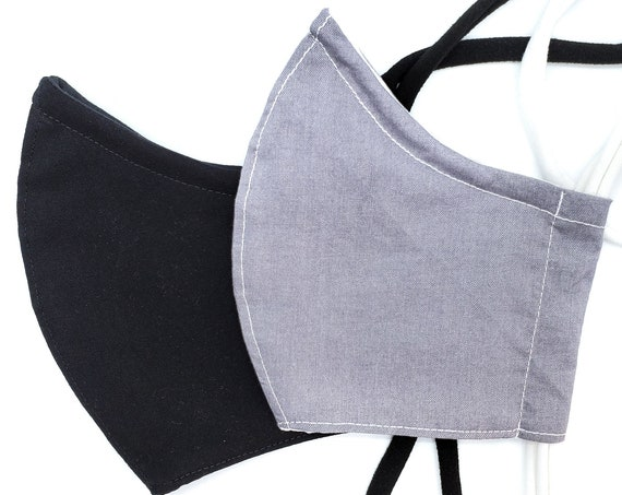 Washable Cotton Contoured Face Mask With Filter Pocket and Nose Wire- Solid Black or Grey