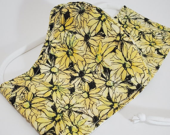 Fashionable, Washable Fitted Face Mask With Filter Pocket and Nose Wire- Scattered Yellow Daisy