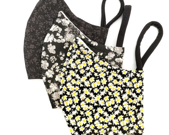 Fashionable, Washable Cotton Fitted Face Mask With Filter Pocket and Nose Wire- Flowers, Yellow Daisy