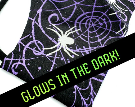 Washable Cotton Fitted Face Mask With Filter Pocket and Nose Wire- Spider Web- Glow in the Dark