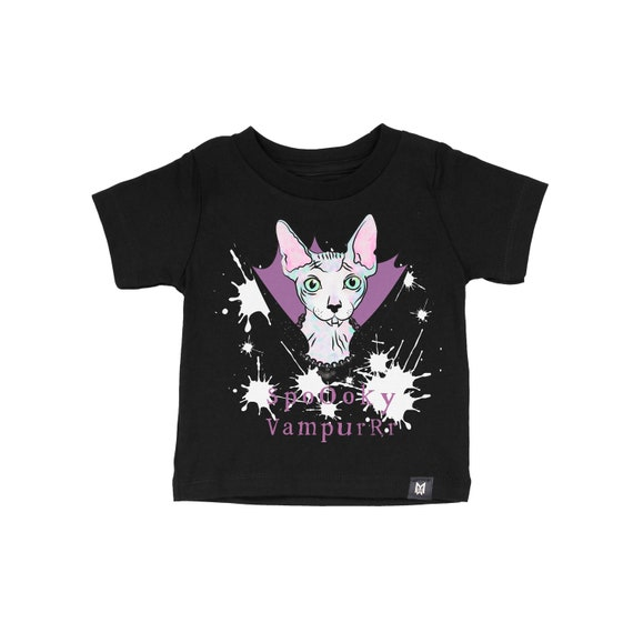 Spooky Vampurr Sphynx Graphic Tshirt for Kids and Baby