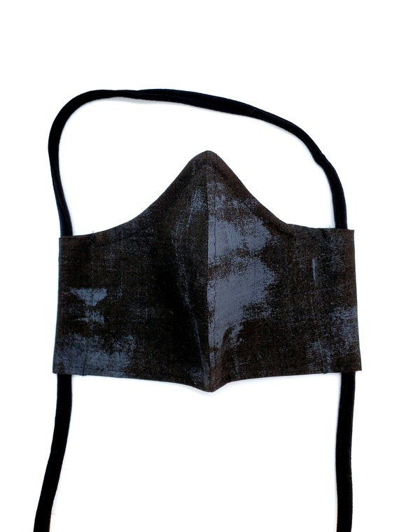 Fashionable, Washable Cotton Fitted Face Mask With Filter Pocket and Nose Wire- Black and Blueish Gray Grunge
