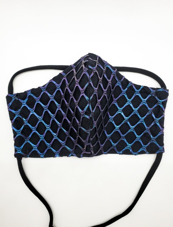 Fashionable, Washable Fitted Face Mask With Filter Pocket and Nose Wire- Black Holographic fishnet