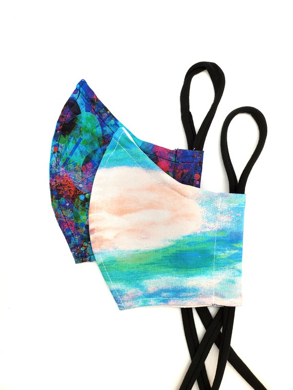 Fashionable, Washable Cotton Fitted Face Mask With Filter Pocket and Nose Wire-Painted Abstract Watercolor