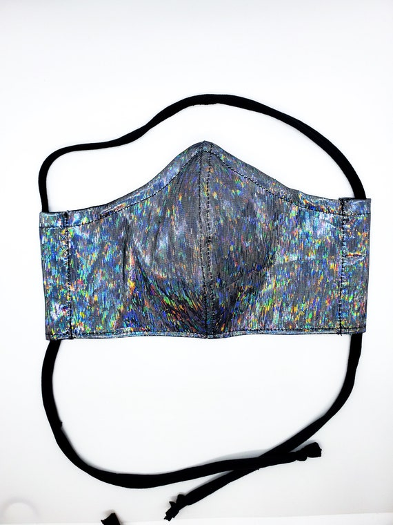Fashionable, Washable Fitted Face Mask With Filter Pocket and Nose Wire- Silver Holographic