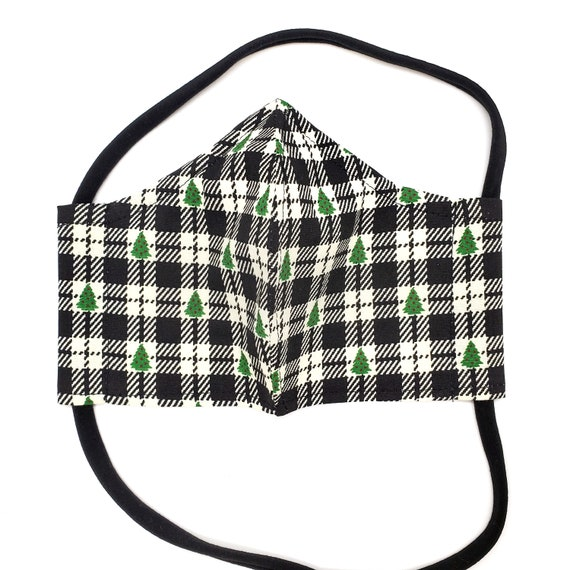 Holiday White and Black Plaid Face Mask with Christmas Tree- Washable, Fitted, Nose Wire, Filter Pocket