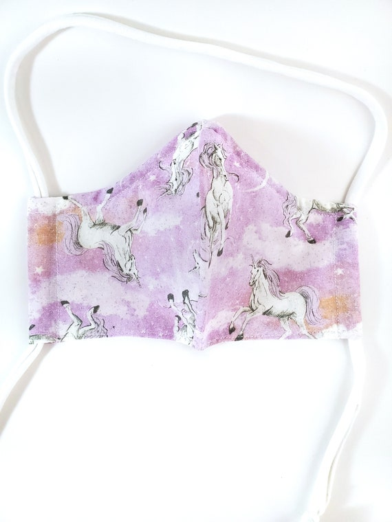 Fashionable, Washable Fitted Face Mask With Filter Pocket and Nose Wire- Pink Glitter Unicorn