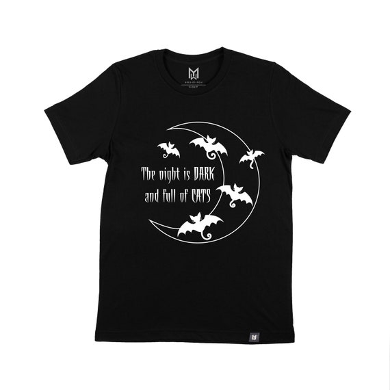 Adult The Night is Dark and Full of Cats Graphic T-shirt - Unisex